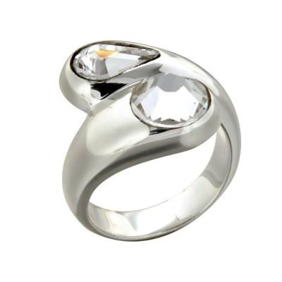 Bague pour femme en argent et cristal de Swarovski® LZ - Toi et Moi