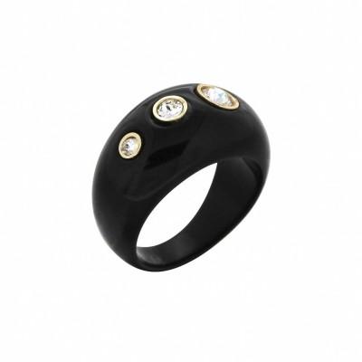 Bague pour femme en résine noire et cristal de Swarovski® - Shangai