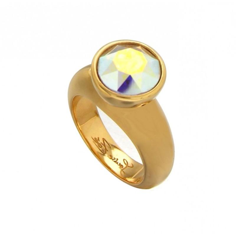 bague tendance pour femme en plaqué or et cristal de Swarovski Louise Zoé Bijoux - Solitaire