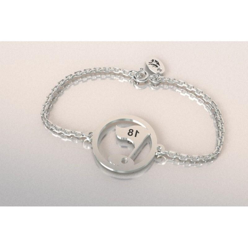 Bracelet créateur original mixte drapeau 18 en argent