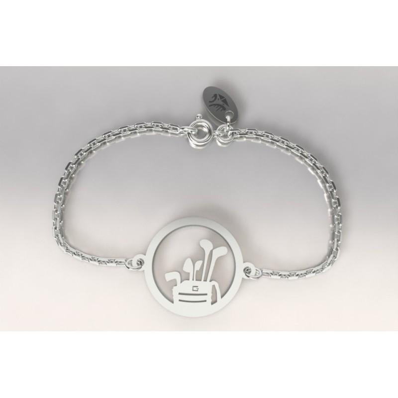 Bracelet créateur original mixte sac de golf et clubs en argent