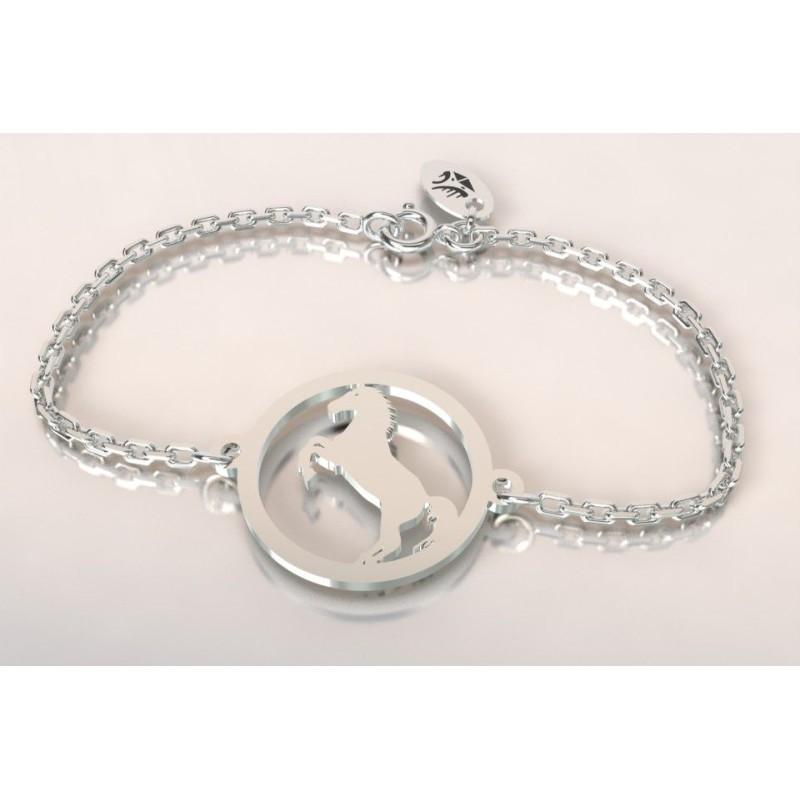 Bracelet créateur original mixte cheval cabré en argent