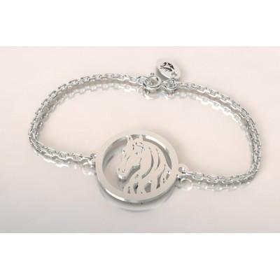 Bracelet créateur original mixte tête de cheval en argent