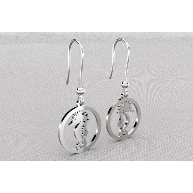 Boucles d'oreilles pendantes pour femme en argent - Hippocampes