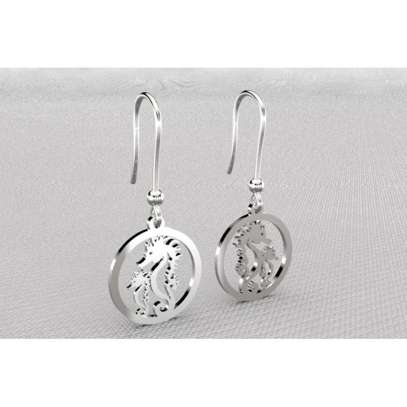 Boucles d'oreilles créateur originales pendantes pour femme en argent - Hippocampes