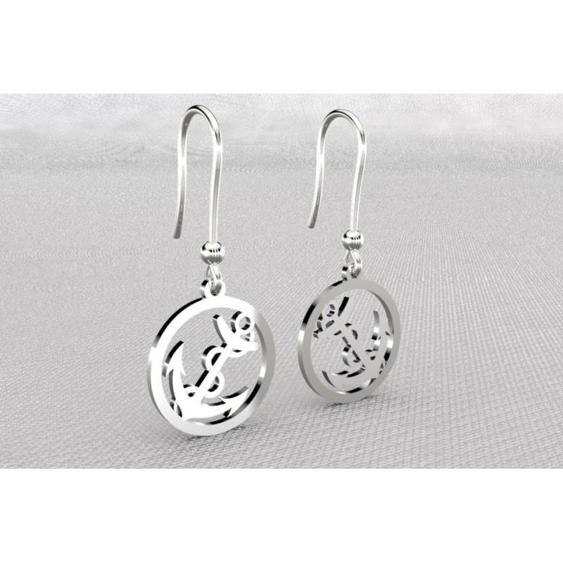 Boucles d'oreilles créateur originales pendantes pour femme en argent - ancre marine