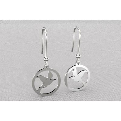 Boucles d'oreilles créateur originales pendantes pour femme en argent - mouette cayouckette
