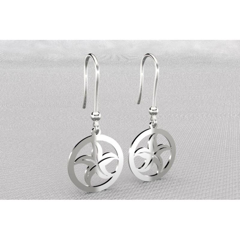 Boucles d'oreilles créateur originales pendantes pour femme en argent - étoile de mer