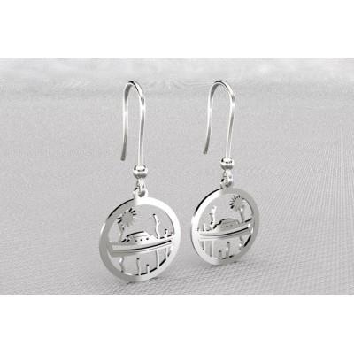 Boucles d'oreilles créateur originales pendantes pour femme en argent - Pinasse