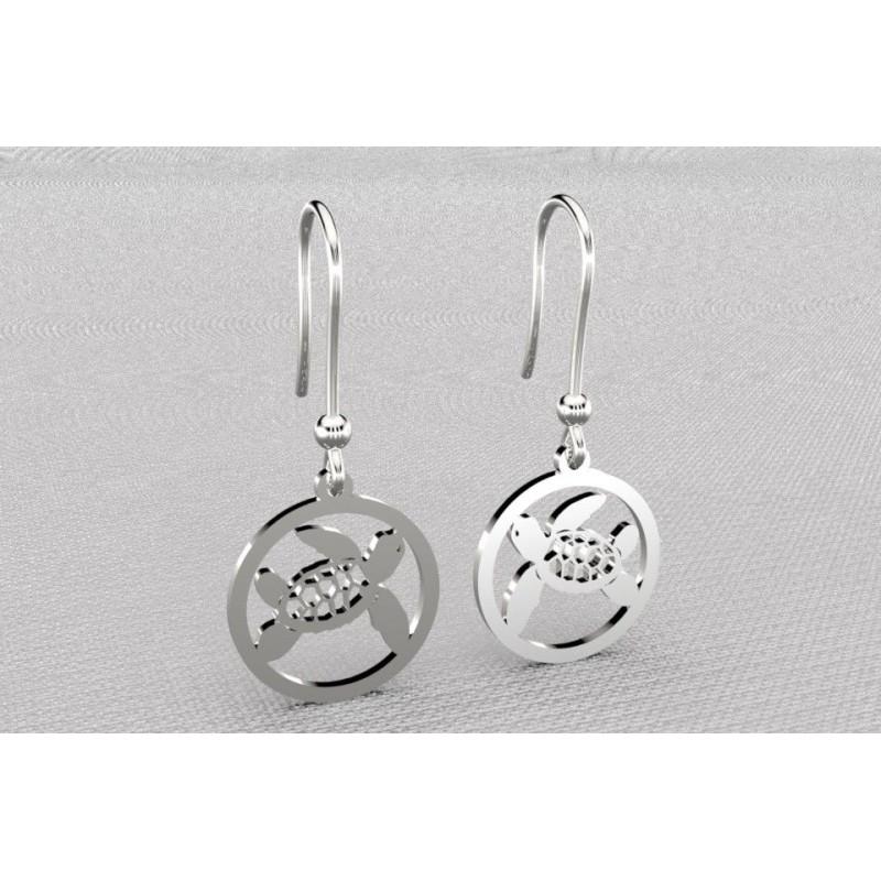 Boucles d'oreilles créateur originales pendantes pour femme en argent - Tortue