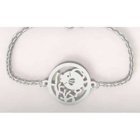 Bracelet créateur en argent, mixte - Poisson Corail
