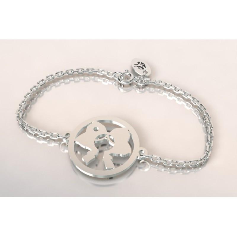 Bracelet créateur original mixte Coiffe alsacienne en argent