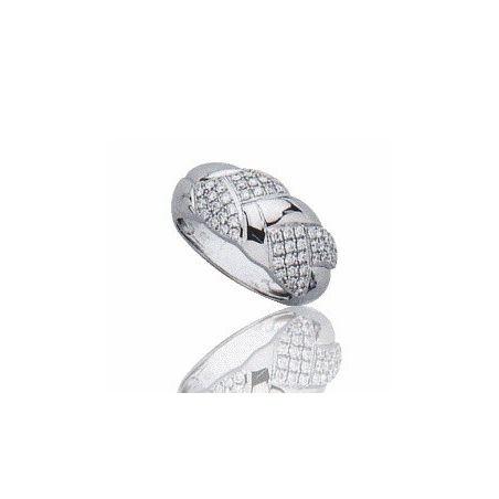 Bague en or blanc 18 carats, diamant pour femme - Isaure