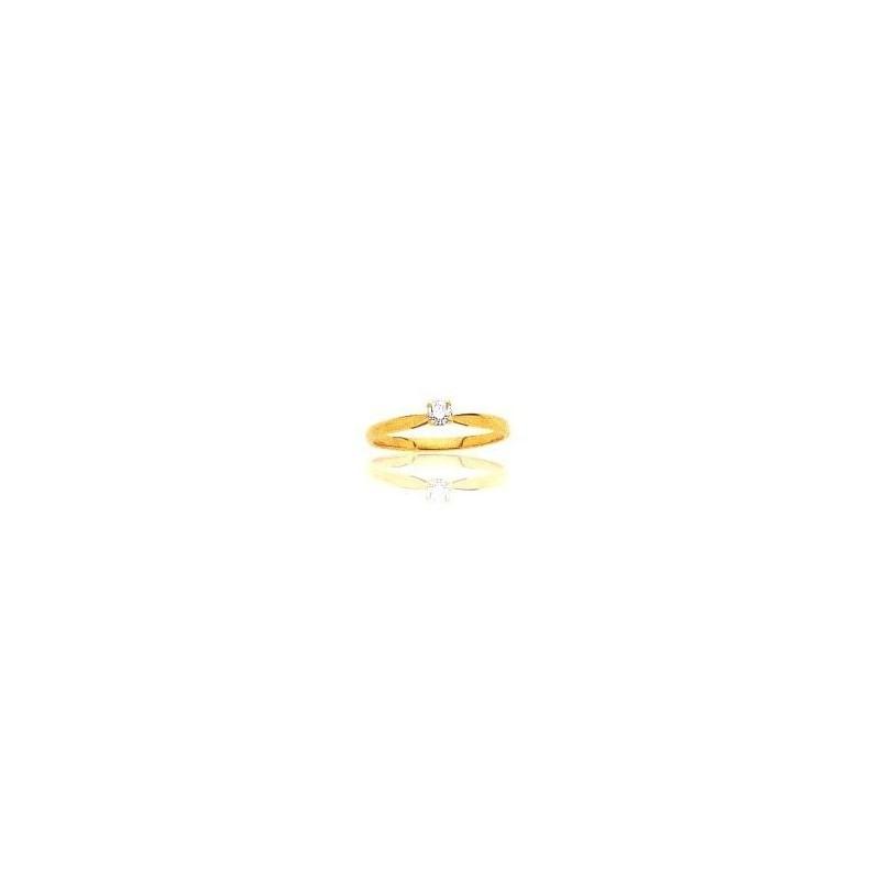 Bague pour femme en or 18 carats, diamant solitaire - Sylvia