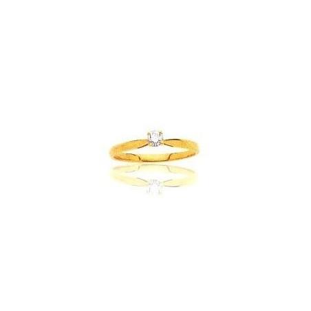 Bague en or 18 carats, diamant solitaire pour femme - Sylvia