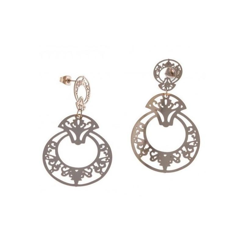 Boucles d'oreilles bijou fantaisie pour femme en acier rose - Prima