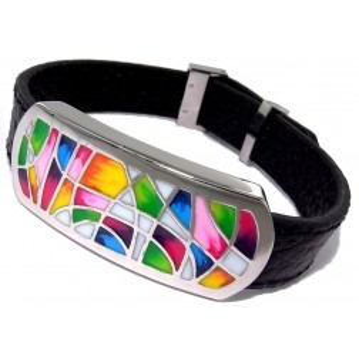 Bracelet en cuir noir, acier et émail Coloré - Melly