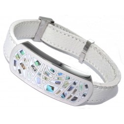 Bracelet en cuir blanc, acier et émail Coloré - Melly