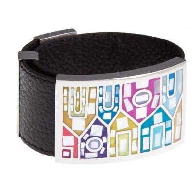 Bracelet en cuir noir, acier et émail Coloré - Shelly
