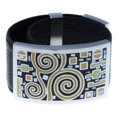 Bracelet en cuir noir, acier et émail orange - Shelly