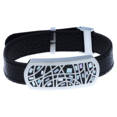 Bracelet en cuir noir, acier, nacre, émail - Melly