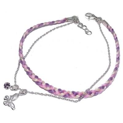 Bracelet cordon violet et argent - Mandara