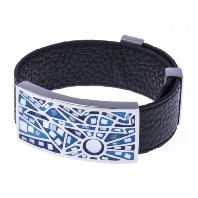 Bracelet en cuir noir, acier et émail bleu