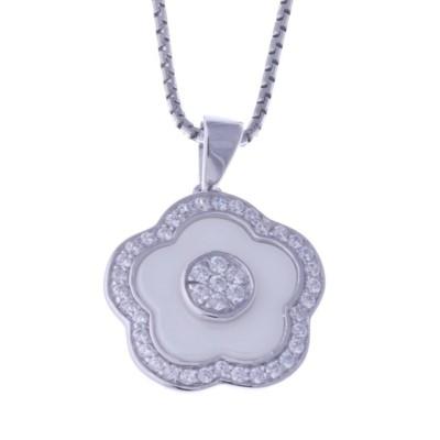 Collier en argent rhodié et céramique blanche - Marguerite