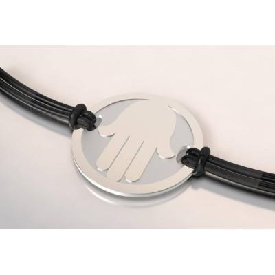 Bracelet créateur en acier et argent, mixte - Main