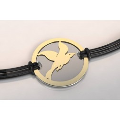 Bracelet de créateur original mixte motif Cayouckette en acier et or