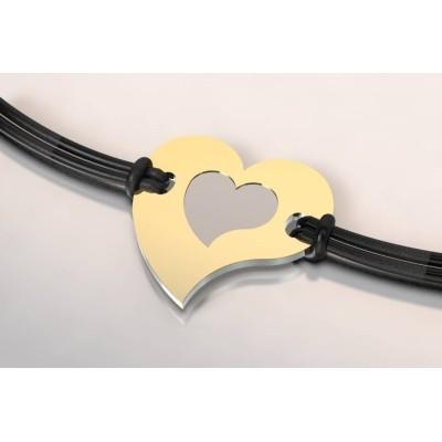 Bracelet tendance pour femme en acier et or 18 carats - Coeur