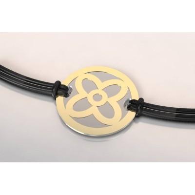 Bracelet tendance pour femme en acier et or 18 carats - Fleur