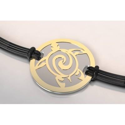 Bracelet de créateur original femme, homme acier / or 18 carats Tortue