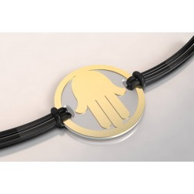 Bracelet créateur en acier et or, mixte - Main
