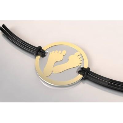 Bracelet de créateur original mixte Pied en acier et or 18 carats