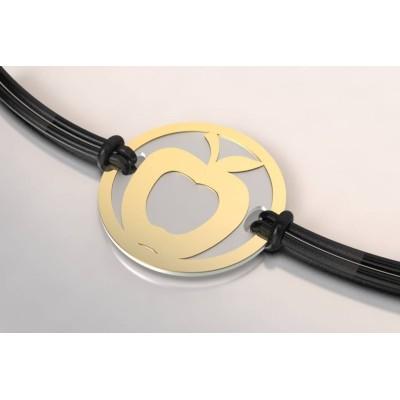 Bracelet de créateur en acier et or, unisexe - Pomme