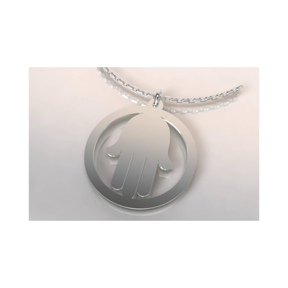 collier de cr ateur en argent original pour femme avec motif main. Black Bedroom Furniture Sets. Home Design Ideas