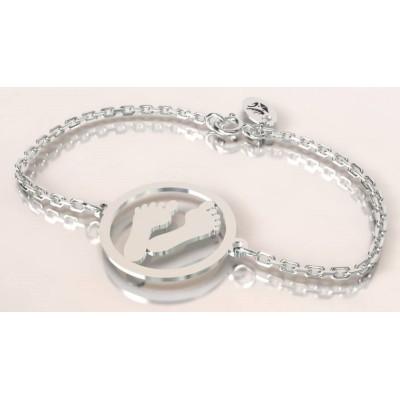 Bracelet de créateur en argent, unisexe - Empreinte de pied