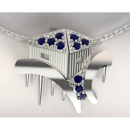 Collier créateur en argent et Topaze bleu cashemire - Cabane Tchanquée