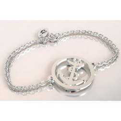 Bracelet de créateur en argent, unisexe - Ancre marine