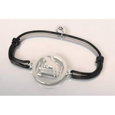 Bracelet cordon en argent mixte - Cavalier au saut d'obstacle