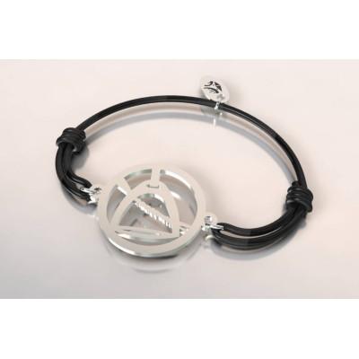 Bracelet cordon en argent mixte - Etrier et cravache