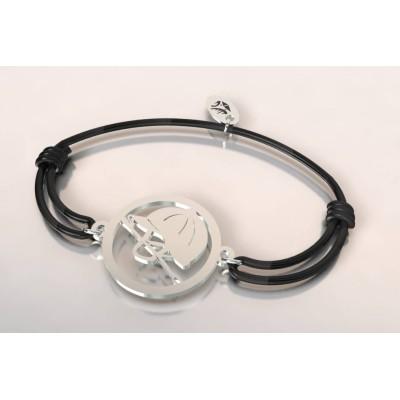 Bracelet cordon en argent mixte - Bombe et cravache