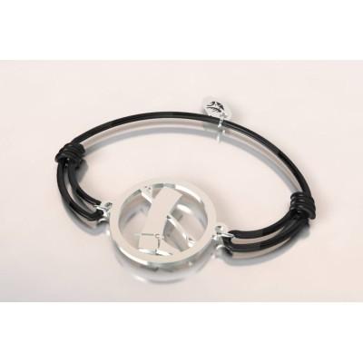 Bracelet cordon en argent mixte - Botte et cravache