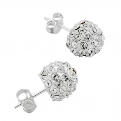 Boucles d'oreilles mode femme LZ - Boules Argent, Eclats de cristal de Swarovski