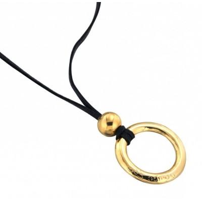 Collier femme en plaqué or et suédine noire LZ - Cercle