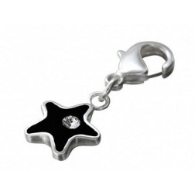 Charm femme en argent, résine noire, Swarovski - Black Star