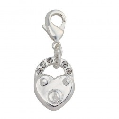 Charm femme en argent, cristal de Swarovski - Coeur cadenas