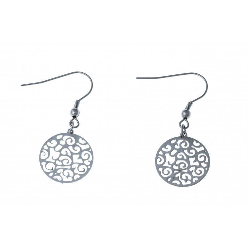 Boucles d'oreilles bijou fantaisie pour femme en acier - Cyriana