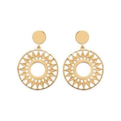 Boucles d'oreilles solaires pendantes en plaqué or pour femme